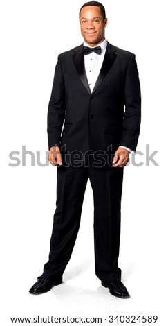 Friendly African man with short black hair in evening outfit - Isolated