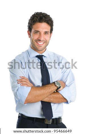 Friendly and smiling businessman looking at camera with reliability isolated on white background - stock photo