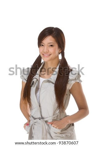 Friendly Asian High school girl student - stock photo