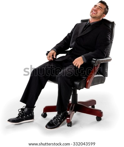 Friendly Asian man with short black hair in business formal outfit laughing - Isolated