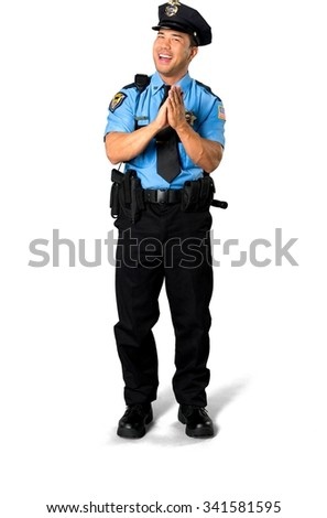 Friendly Asian man with short black hair in uniform clapping - Isolated