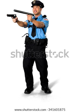 Friendly Asian man with short black hair in uniform using handgun - Isolated
