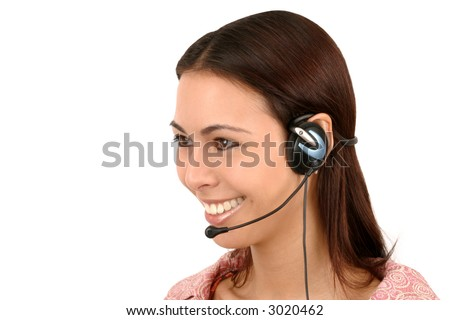 Friendly, attractive operator with headset. - stock photo