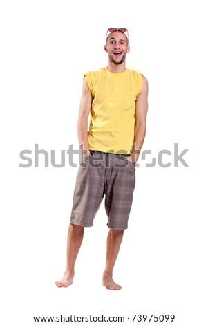 friendly bald guy on the beach - stock photo