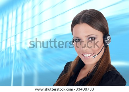Friendly business customer service woman. - stock photo