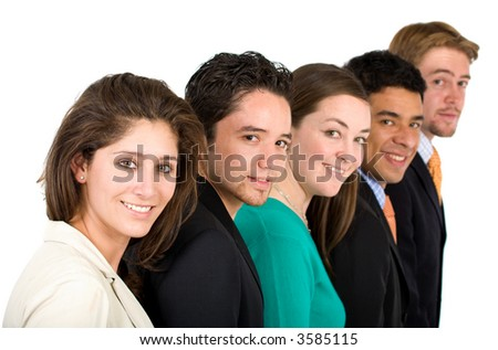 friendly business team - all smiling in a row over a white background - stock photo