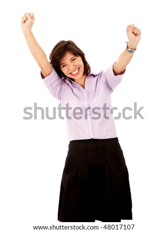 Friendly business woman full of success with her arms up - isolated over white