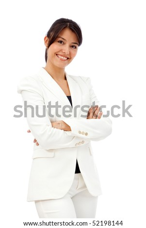 Friendly business woman portrait smiling isolated over a white background
