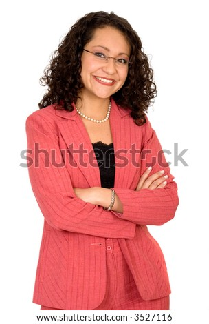 friendly business woman portrait - smiling over a white background - stock photo