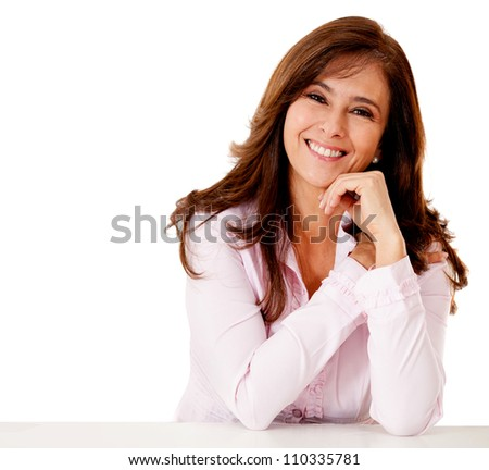 Friendly business woman smiling - isolated over a white backgorund - stock photo