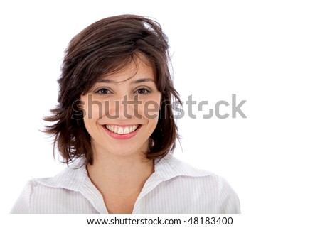 Friendly business woman smiling isolated over a white background