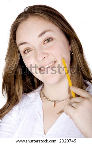 friendly business woman with pencil on face over white