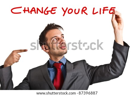 Friendly businessman suggesting you to improve your life - stock photo