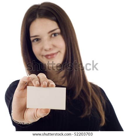 Friendly businesswoman holding blank empty sign, the focus is on the business card