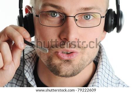Friendly Call Center Agent - stock photo