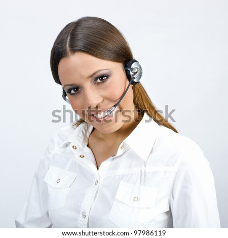 Friendly call sevice operator woman. - stock photo