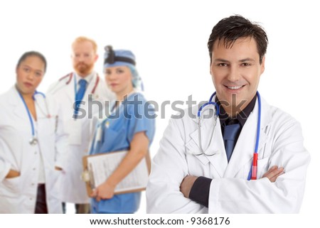 Friendly  caring team of medical doctors, surgeons, healthcare professionals. - stock photo