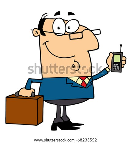 Friendly Caucasian Businessman Holding A Briefcase And Cell Phone - stock photo