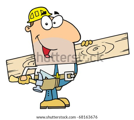 Friendly Caucasian Construction Worker Carrying A Wood Board - stock photo