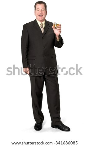 Friendly Caucasian elderly man with short medium brown hair in business formal outfit holding cocktail - Isolated