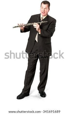 Friendly Caucasian elderly man with short medium brown hair in business formal outfit holding musical instrument - Isolated