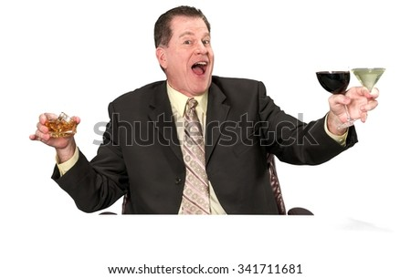 Friendly Caucasian elderly man with short medium brown hair in business formal outfit holding martini glass - Isolated
