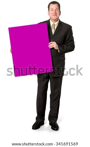 Friendly Caucasian elderly man with short medium brown hair in business formal outfit holding large sign - Isolated