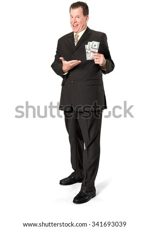 Friendly Caucasian elderly man with short medium brown hair in business formal outfit holding money - Isolated