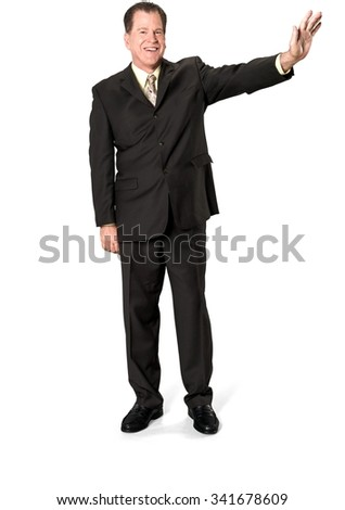 Friendly Caucasian elderly man with short medium brown hair in business formal outfit showing stop hand - Isolated