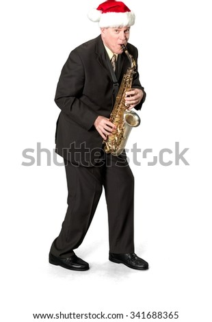 Friendly Caucasian elderly man with short medium brown hair in business formal outfit using musical instrument - Isolated