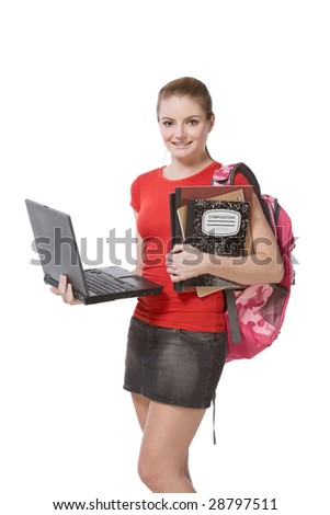 friendly Caucasian High school student schoolgirl with backpack, holding laptop computer, notebooks and composition book - stock photo