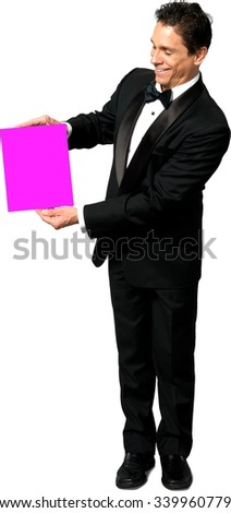 Friendly Caucasian man with short black hair in a tuxedo holding medium sign - Isolated - stock photo