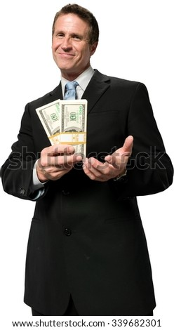 Friendly Caucasian man with short black hair in business formal outfit holding money - Isolated - stock photo