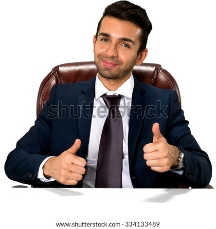 Friendly Caucasian man with short dark brown hair in business formal outfit giving thumbs up - Isolated