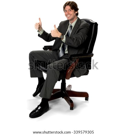 friendly caucasian man with short dark brown hair in business formal outfit isolated - Office Chair For Short Person