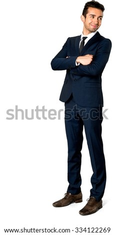 Friendly Caucasian man with short dark brown hair in business formal outfit with arms folded - Isolated