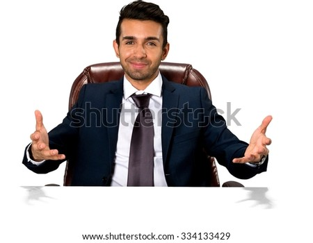 Friendly Caucasian man with short dark brown hair in business formal outfit with arms open - Isolated