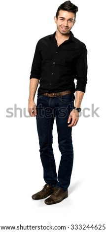 Friendly Caucasian man with short dark brown hair in casual outfit - Isolated