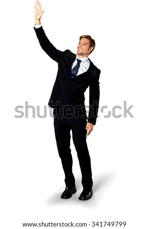 Friendly Caucasian man with short medium blond hair in business formal outfit giving high five - Isolated