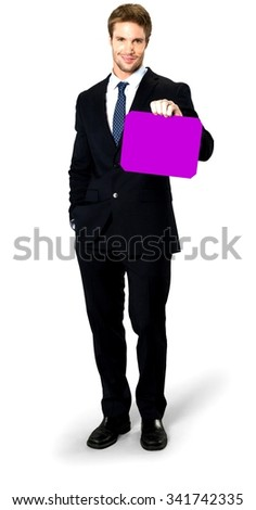 Friendly Caucasian man with short medium blond hair in business formal outfit holding medium sign - Isolated