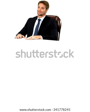 Friendly Caucasian man with short medium blond hair in business formal outfit - Isolated