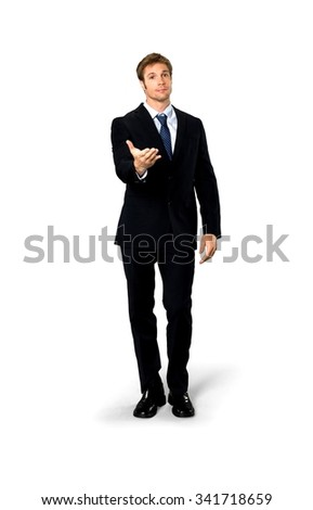 Friendly Caucasian man with short medium blond hair in business formal outfit offering handshake - Isolated