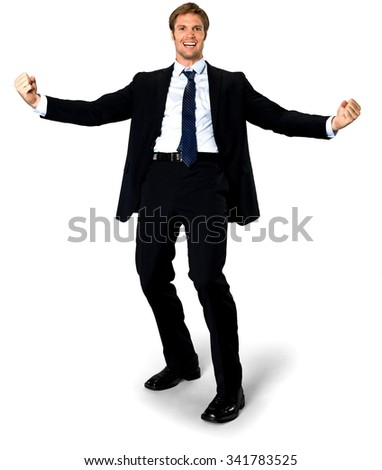 Friendly Caucasian man with short medium blond hair in business formal outfit with arms open - Isolated - stock photo