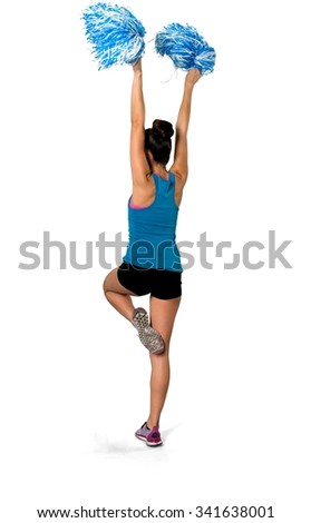 Friendly Caucasian woman black in athletic costume using pom poms - Isolated