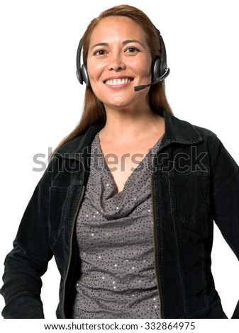 Friendly Caucasian woman with long medium brown hair in casual outfit using headset - Isolated