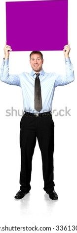 Friendly Caucasian young man with short medium brown hair in business formal outfit holding large sign - Isolated - stock photo