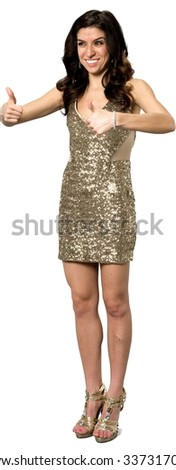 Friendly Caucasian young woman with long dark brown hair in evening outfit cheering - Isolated - stock photo