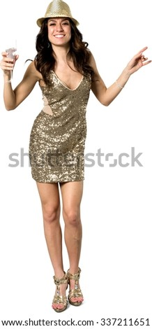 Friendly Caucasian young woman with long dark brown hair in evening outfit holding champagne glass - Isolated - stock photo