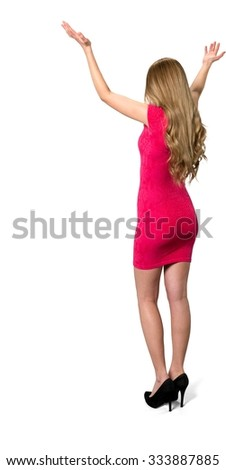 Friendly Caucasian young woman with long light blond hair in evening outfit with arms open - Isolated