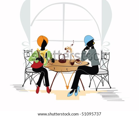 Friendly chat of 2 girls in the cafe - stock photo